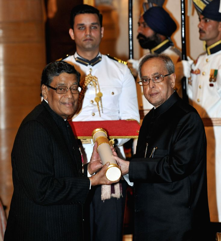 President Pranab Mukherjee presents the Padma Vibhushan Award to eminent Indian constitutional lawyer K.K. Venugopal during a Civil Investiture Ceremony organised at the Rashtrapati Bhavan ... - Pranab Mukherjee