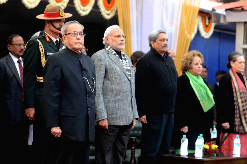 President Pranab Mukherjee, Prime Minister Narendra Modi, Union Defence Minister Manohar Parikkar, Congress chief Sonia Gandhi, Chief of Army Staff General Dalbir Singh Suhag and others ... - Narendra Modi, Pranab Mukherjee and Sonia Gandhi