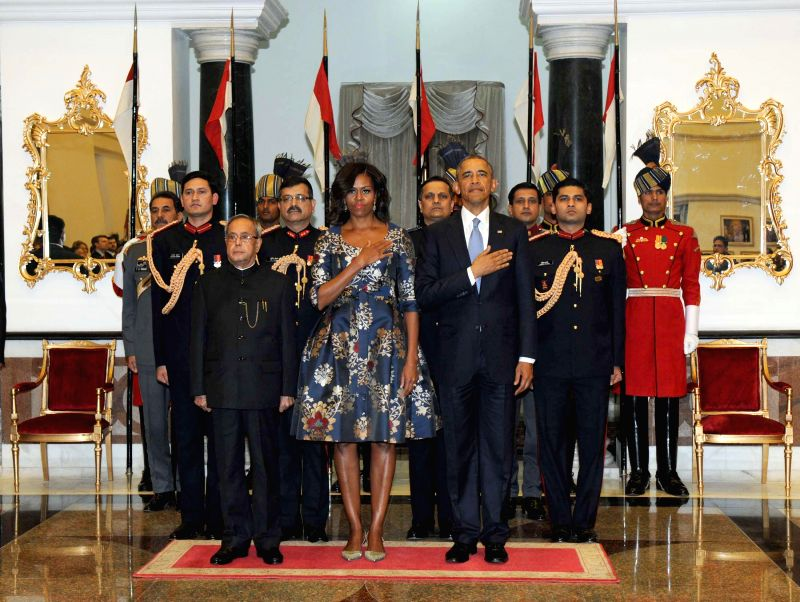President Pranab Mukherjee, US President Barack Obama and the First Lady (US) Michelle Obama at a banquet hosted by President Mukherjee in honour of US President and the first lady at ... - Pranab Mukherjee