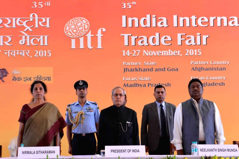 :New Delhi: President Pranab Mukherjee with Minister of State (Independent Charge) for Commerce and Industry Nirmala Sitharaman at the inauguration of the 35th India International Trade Fair (IITF) ... - Jawaharlal Nehru and Pranab Mukherjee