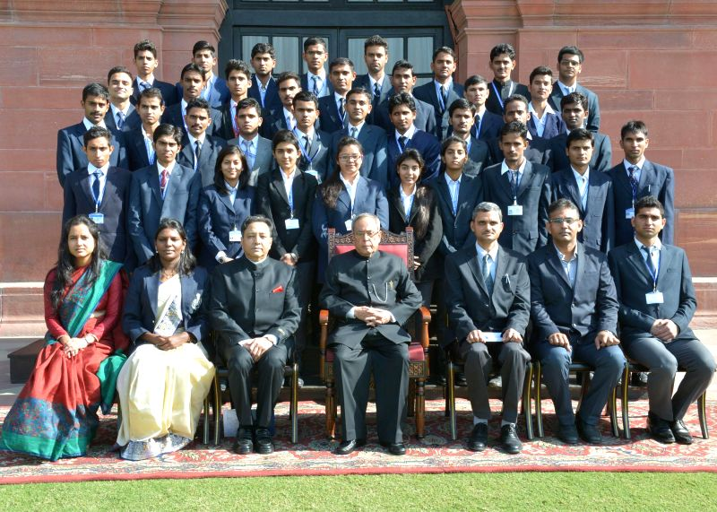 President Pranab Mukherjee  with the students of Sardar Patel University of Police, Security and Criminal Justice, Jodhpur at Rashtrapati Bhavan in New Delhi, on Dec 1, 2014. - Pranab Mukherjee