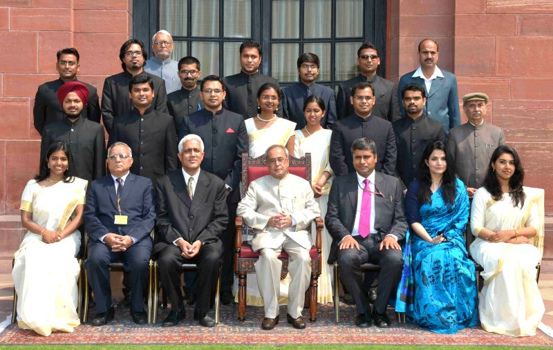 President Pranab Mukherjee with the Probationers of the Indian P&T Accounts and Finance Service of 2013 & 2014 Batches, at Rashtrapati Bhavan, in New Delhi on March 26, 2015. - Pranab Mukherjee