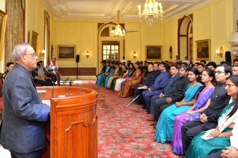 President Pranab Mukherjee with the Probationers of Indian Defence Accounts Service, Indian Civil Accounts Service, Indian Railway Accounts Service and Indian P&T Service from the ... - Pranab Mukherjee