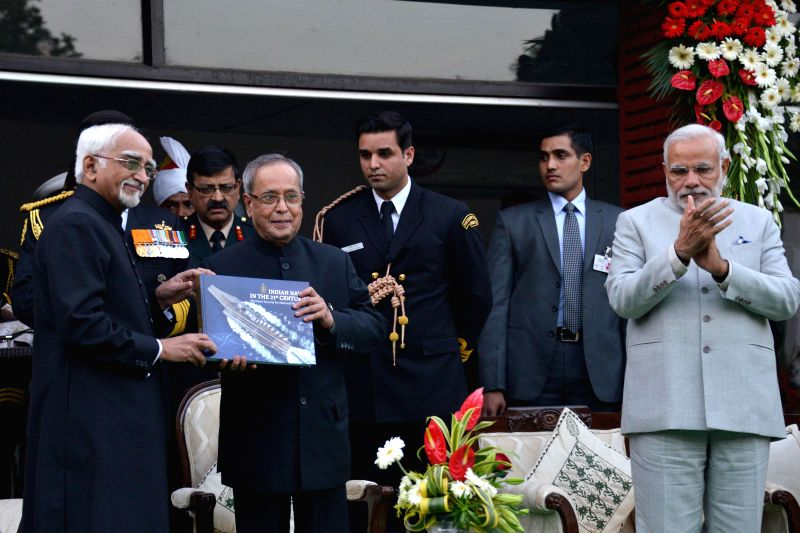 President Pranab Mukherjee with Vice-President Mohammad Hamid Ansari and Prime Minister Narendra Modi during Navy Day reception hosted by the Chief of Naval Staff R.K. Dhowan at Navy House - Narendra Modi and Pranab Mukherjee