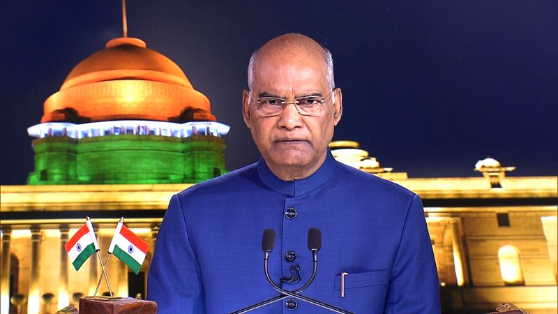 New Delhi: President Ram Nath Kovind addresses the nation on the eve of Independence Day in New Delhi on Aug 14, 2019. (Photo: IANS/RB)