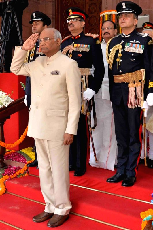:New Delhi: President Ram Nath Kovind arrives at the Parliament House to address both the houses in New Delhi on Jan. 29, 2018. .
