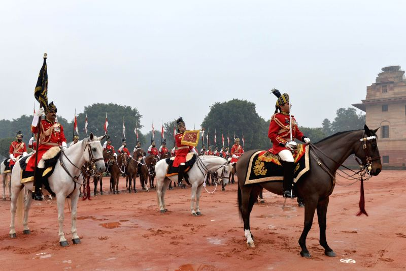 Presidents' bodyguards at the forecourt of Rashtrapati Bhawan ahead  Republic Day celebrations in New Delhi, on Jan 26, 2015.