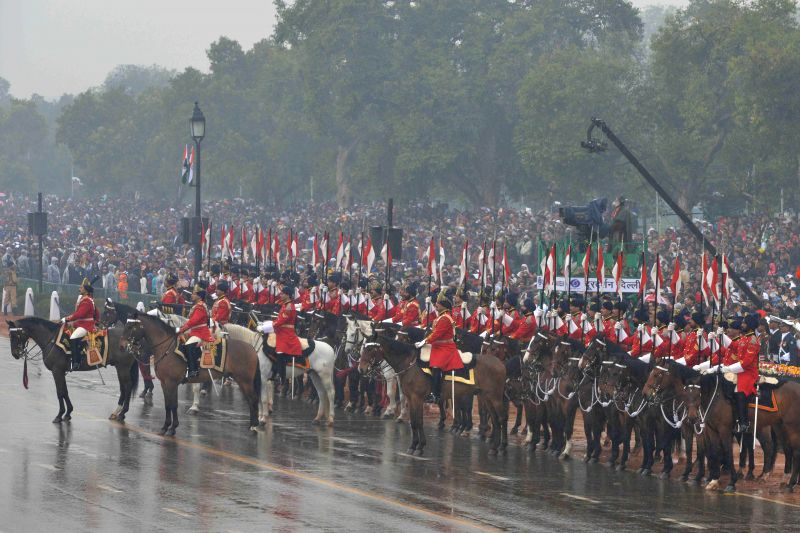 Presidents' bodyguards at the venue of Republic Day celebrations at Rajpath in New Delhi, on Jan 26, 2015.
