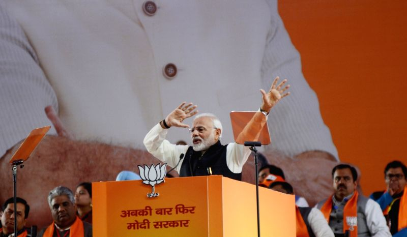 New Delhi: Prime Minister and BJP leader Narendra Modi addresses on the second day of the party's two-day long National Council meeting at Ramlila Maidan in New Delhi, on Jan 12, 2019. (Photo: IANS)