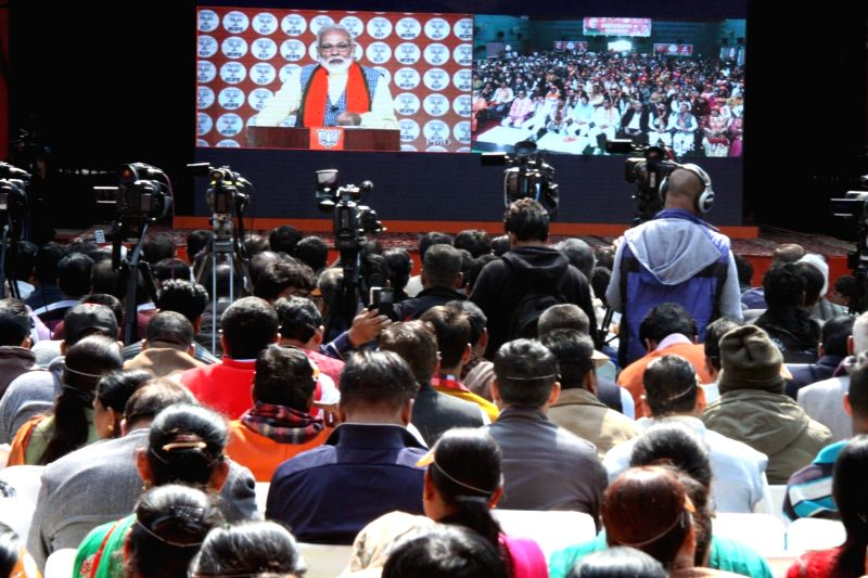 New Delhi: Prime Minister and BJP leader Narendra Modi addresses party workers via video conference, in New Delhi, on Feb 28, 2019.