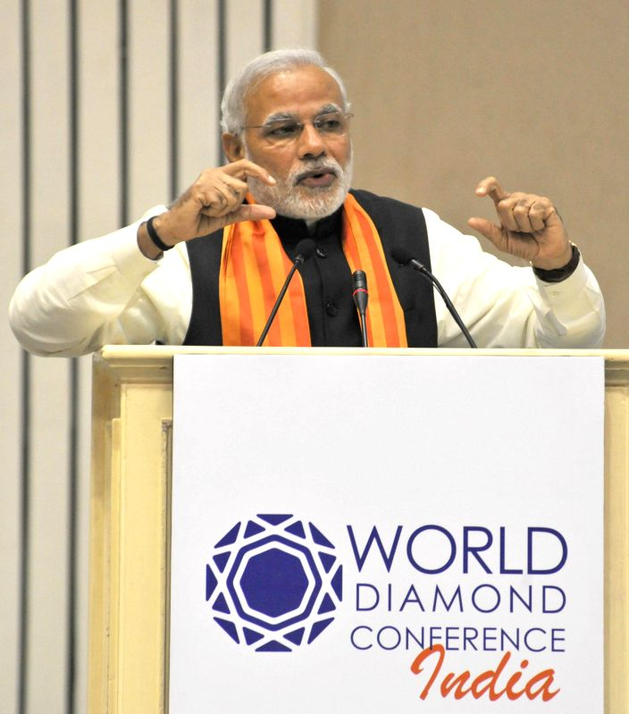 Prime Minister Narendra Modi addresses at the `World Diamond Conference`, in New Delhi on Dec 11, 2014. - Narendra Modi