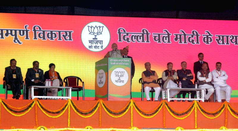 Prime Minister Narendra Modi addresses a election rally in Rohini, New Delhi on Feb. 3, 2015. - Narendra Modi
