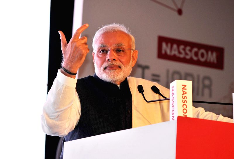 Prime Minister Narendra Modi addresses at the Silver Jubilee Celebration Ceremony of NASSCOM, in New Delhi on March 1, 2015. - Narendra Modi