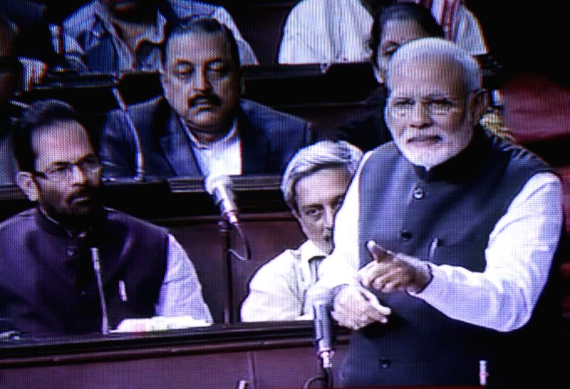 Prime Minister Narendra Modi addresses in Rajya Sabha during the budget session of the Parliament in New Delhi on March 3, 2015. - Narendra Modi