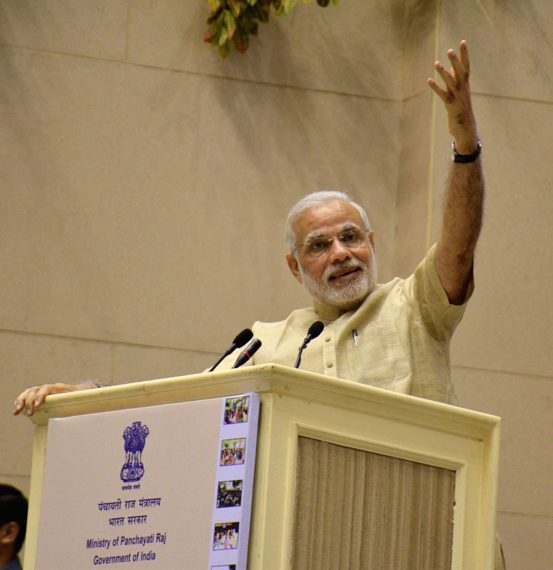 Prime Minister Narendra Modi addresses during the National Panchayati Raj Day function, in New Delhi on April 24, 2015. - Narendra Modi