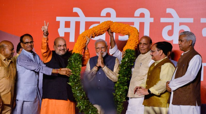 New Delhi: Prime Minister Narendra Modi addresses at BJP headquarters in New Delhi on May 23, 2019. Also seen BJP chief Amit Shah with party leaders Shivraj Singh Chouhan, Thawar Chand Gehlot, Rajnath Singh, Jap Nadda and Ram Lal.