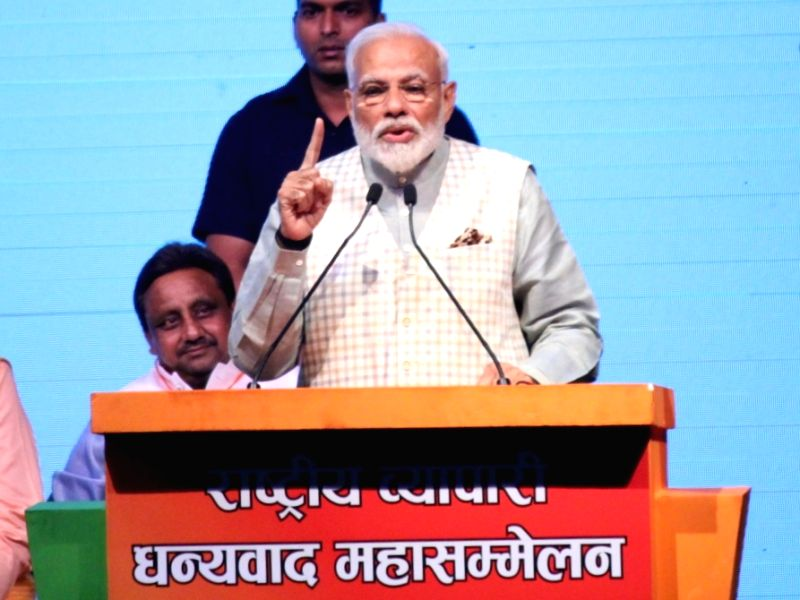 New Delhi: Prime Minister Narendra Modi addresses at the convention of traders at Talkatora Stadium in New Delhi, on April 19, 2019. (Photo: Amlan Paliwal/IANS)