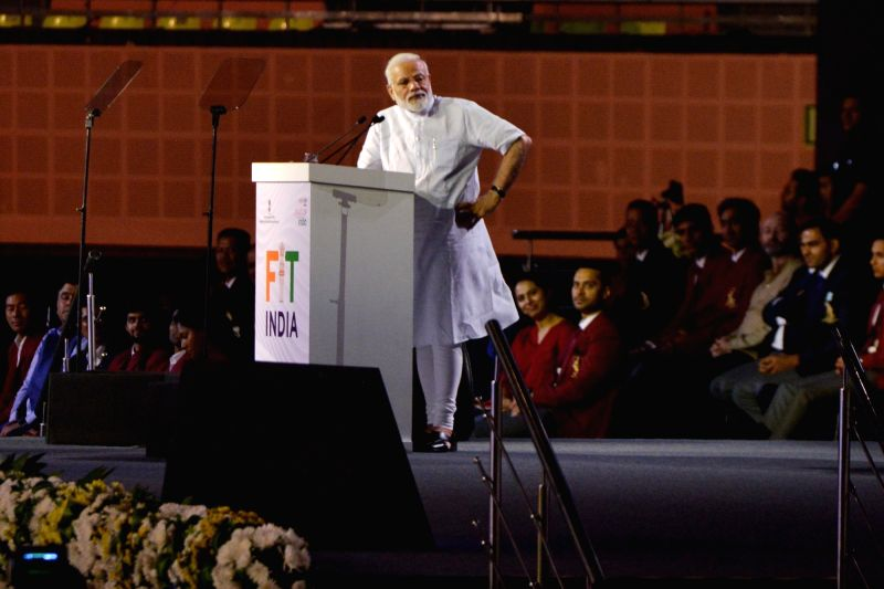 New Delhi: Prime Minister Narendra Modi addresses at the launch of a nation-wide 'Fit India Movement' in New Delhi on Aug 29, 2019.