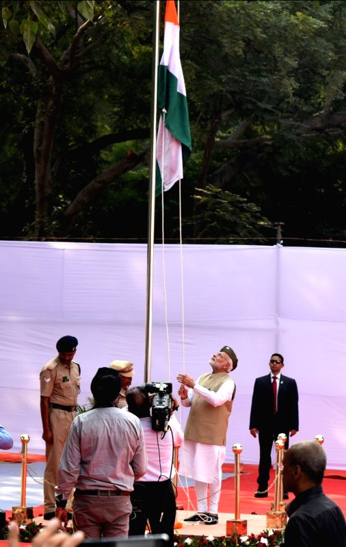 :New Delhi: Prime Minister Narendra Modi addresses at the National Flag hoisting ceremony to commemorate the 75th anniversary of the formation of Azad Hind Government, at Red Fort in Delhi on Oct ...