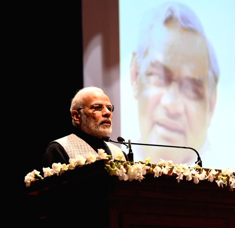 New Delhi: Prime Minister Narendra Modi addresses at the release of commemorative coins in the honour of Bharat Ratna Atal Bihari Vajpayee, in New Delhi on Dec 24, 2018.(Photo: IANS/PIB)
