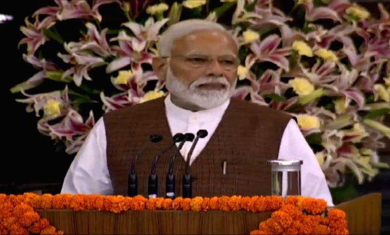 New Delhi: Prime Minister Narendra Modi addresses during NDA Parliamentary Board meeting at Central Hall of Parliament, in New Delhi on May 25, 2019. (Photo: IANS)