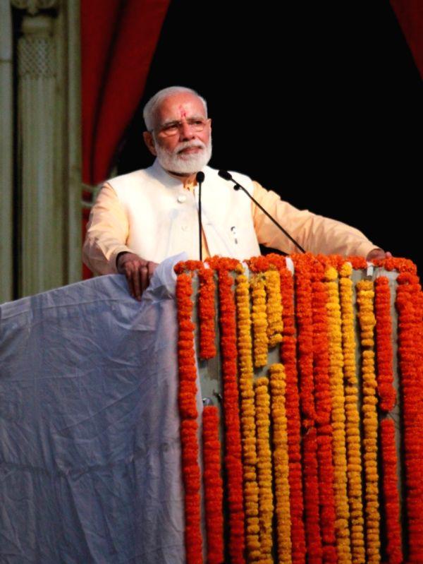 New Delhi: Prime Minister Narendra Modi addresses during Ram Leela at Dwarka, New Delhi on Oct 8, 2019. (Photo: Amlan Paliwal/IANS)