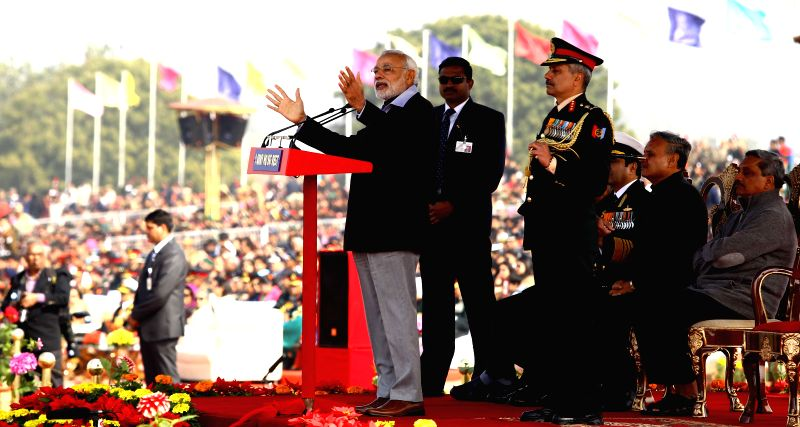 Prime Minister Narendra Modi addressing the cadets during the NCC rally in New Delhi on Jan. 28, 2015. - Narendra Modi