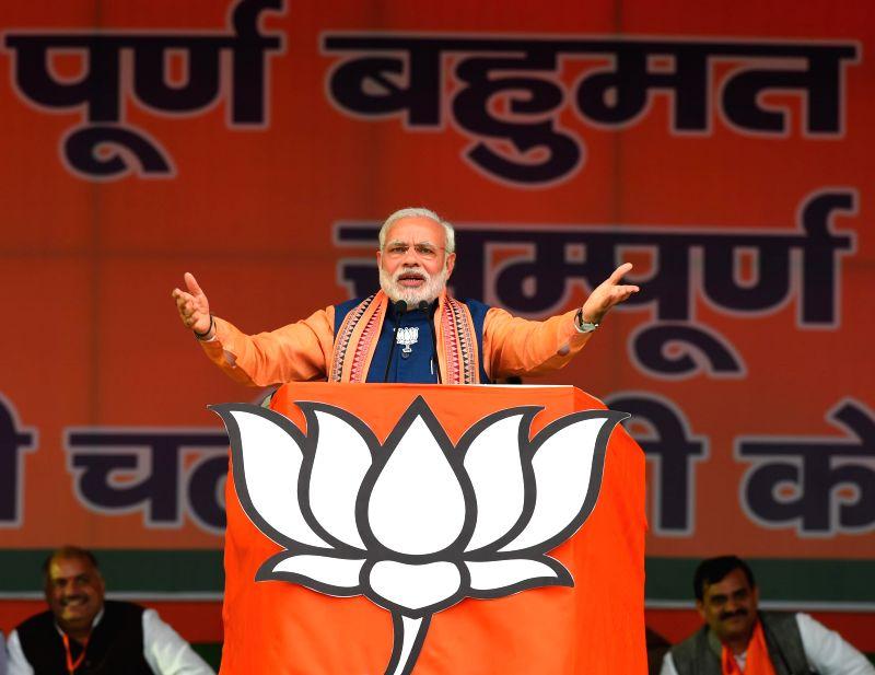 Prime Minister Narendra Modi addressing an election rally in Dwarka, New Delhi on Feb. 1, 2015. - Narendra Modi
