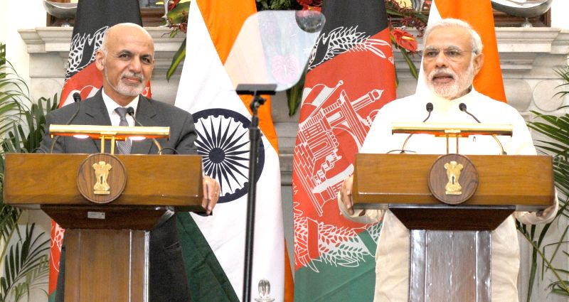 Prime Minister Narendra Modi and Afghanistan President  Dr. Mohammad Ashraf Ghani during a joint press conference at Hyderabad House, in New Delhi on April 28, 2015. - Narendra Modi