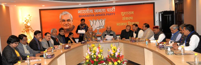 Prime Minister Narendra Modi and BJP chief Amit Shah with BJP spokesperson Syed Shahnawaz Hussain, Union Minister for Health and Family Welfare Jagat Prakash Nadda, the Union Minister for . - Narendra Modi, Sushma Swaraj, M. Venkaiah Naidu, Amit Shah, Arun Jaitley and Satish Upadhyay