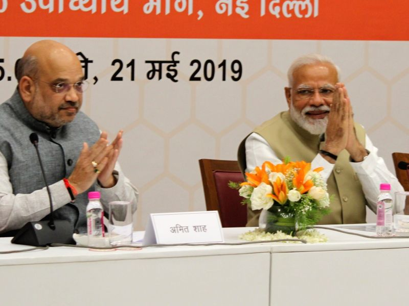 New Delhi: Prime Minister Narendra Modi and BJP chief Amit Shah during a meeting at the party's headquarters in New Delhi on May 21, 2019. (Photo: Amlan Paliwal/IANS)