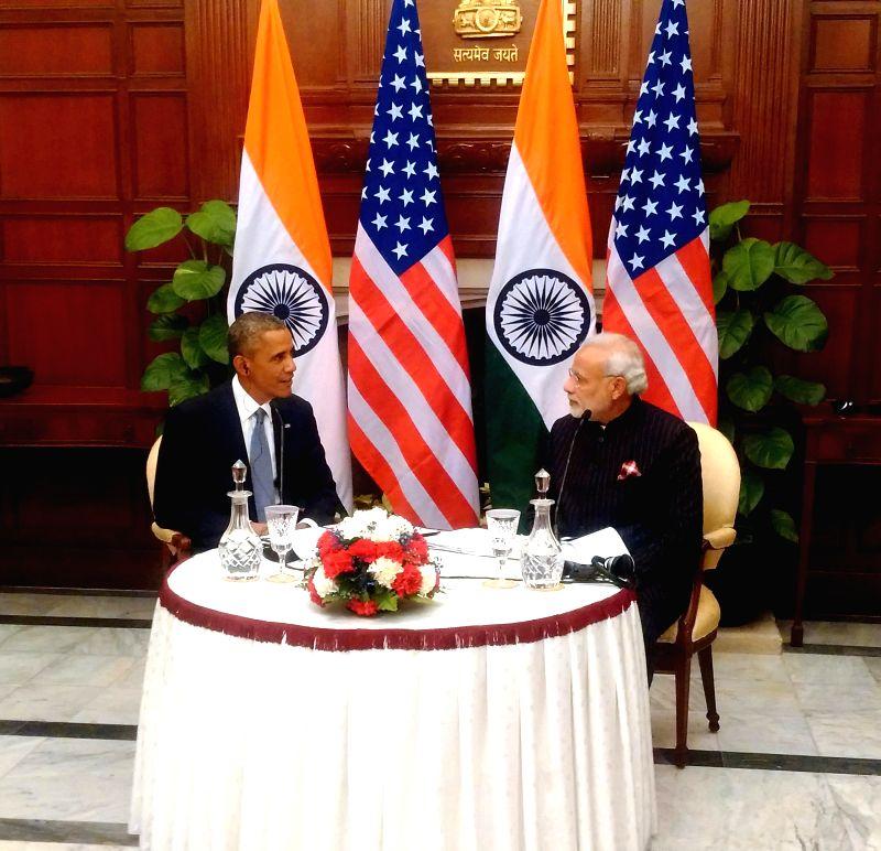 """Prime Minister, Narendra Modi and the US President, Barack Obama recording the special Radio address of """"Mann ki Baat"""", in New Delhi on Jan. 27, 2015. - Narendra Modi"""
