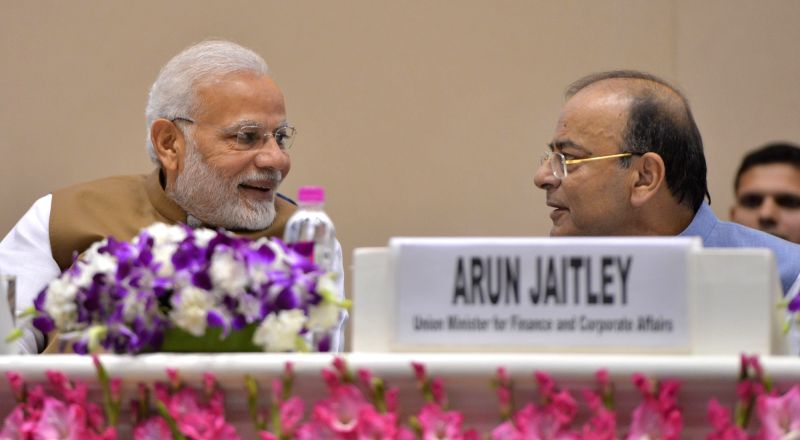 New Delhi: Prime Minister Narendra Modi and Union Finance Minister Arun Jaitley at the launch of MSME Support and Outreach Programme in New Delhi on Nov 2, 2018.