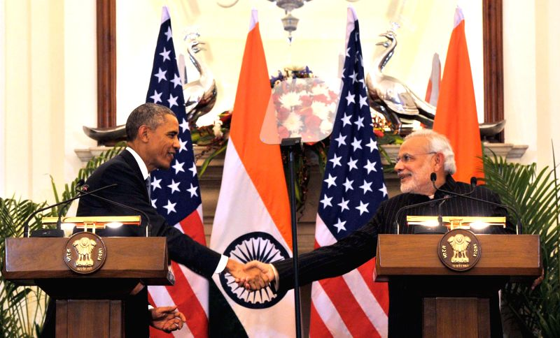 Prime Minister Narendra Modi and US President Barack Obama shake hands during the Joint Press Interaction held at the Hyderabad House, in New Delhi on Jan 25, 2015. - Narendra Modi