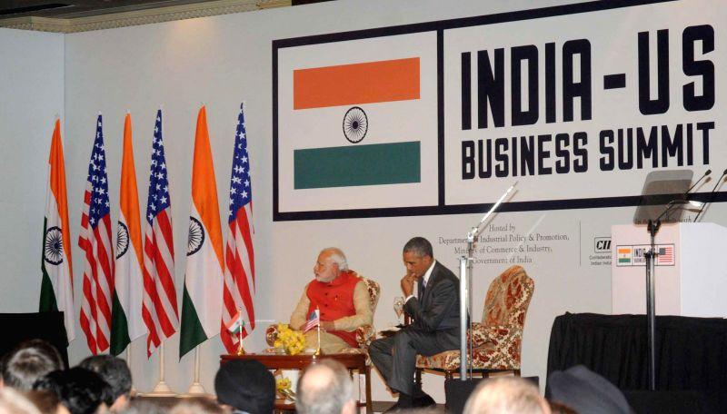 Prime Minister Narendra Modi and US President Barack Obama, at the India-US Business Summit, in New Delhi on Jan 26, 2015. - Narendra Modi