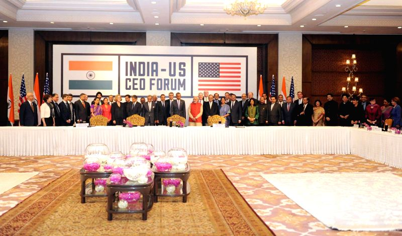 Prime Minister Narendra Modi and US President Barack Obama at the India-US CEO Forum Meeting, in New Delhi on Jan 26, 2015. - Narendra Modi