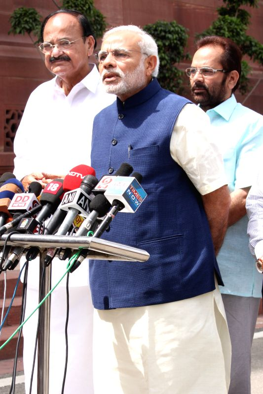 Prime Minister Narendra Modi at Parliament House on April 20, 2015. - Narendra Modi