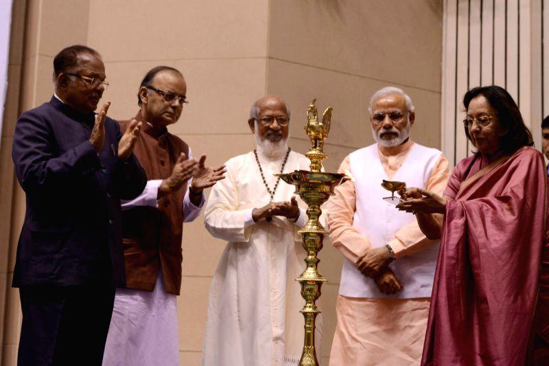 Prime Minister Narendra Modi at a programme organised to celebrate the Elevation to Sainthood of Kuriakose Elias Chavara and Mother Euphrasia, in New Delhi on Feb 17, 2015. Also seen Union - Narendra Modi, Najma A. Heptulla and Arun Jaitley