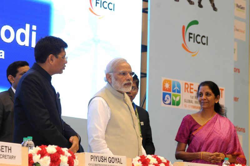 Prime Minister Narendra Modi at the inauguration the first Renewable Energy Global Investors Meet (RE-Invest) and Expo at Vigyan Bhawan in New Delhi on Feb 15, 2015. Also seen the Union ... - Narendra Modi