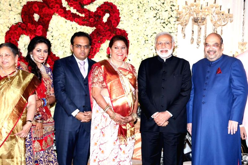 Prime Minister Narendra Modi attends BJP President, Amit Shah`s son Jay and daughter-in-law Rishita wedding receptions in New Delhi, on Feb 15, 2015. - Narendra Modi