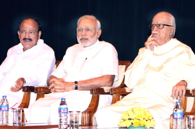 Prime Minister Narendra Modi, BJP leader LK Advani and Union Parliamentary Affairs Minister Venkaiah Naidu and other leaders at the BJP parliamentary party meeting at Parliament library on ... - Narendra Modi and Venkaiah Naidu