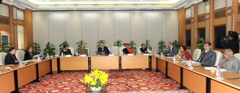 Prime Minister Narendra Modi chairs a high-level meeting on Pradhan Mantri Krishi Sinchai Yojana, in New Delhi on Dec 30, 2014. - Narendra Modi