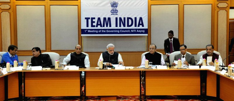 Prime Minister Narendra Modi chairs the Team India - the first meeting of the Governing Council of NITI Aayog, in New Delhi on Feb 8, 2015. Also seen Union Minister for Finance, Corporate . - Narendra Modi and Arun Jaitley