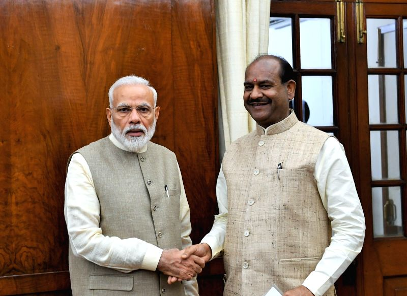 New Delhi: Prime Minister Narendra Modi congratulates the newly elected Speaker of the 17th Lok Sabha Om Birla, in New Delhi on June 19, 2019. BJP MP from Rajasthan Om Birla was elected unopposed as the Speaker of the 17th Lok Sabha on Wednesday. He