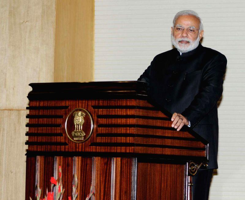 Prime Minister Narendra Modi delivers his address at Heads of Mission Conference, in New Delhi on Feb 7, 2015. - Narendra Modi
