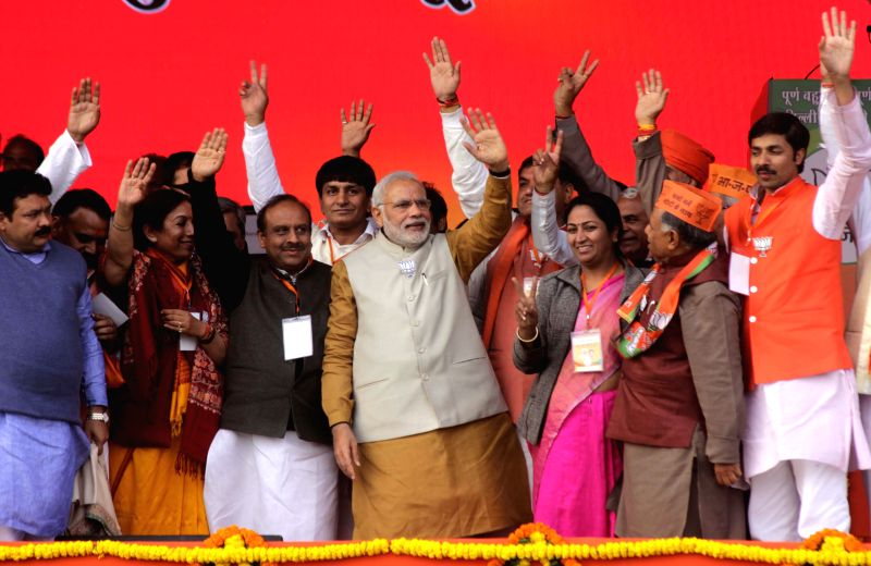 Prime Minister Narendra Modi during a election rally in Rohini, New Delhi on Feb. 3, 2015. - Narendra Modi