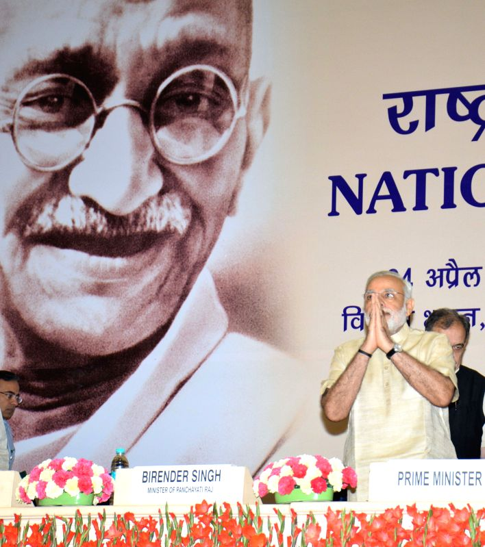 Prime Minister Narendra Modi during the National Panchayati Raj Day function, in New Delhi on April 24, 2015. - Narendra Modi