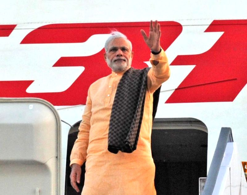 Prime Minister Narendra Modi embarks on his three nation tour of Seychelles, Mauritius and Sri Lanka, from New Delhi on March 10, 2015. - Narendra Modi