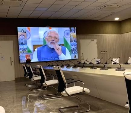 New Delhi: Prime Minister Narendra Modi holds video conference with the Chief Ministers of all the states to discuss measures against COVID-19, on Apr 2, 2020. (Photo: IANS)