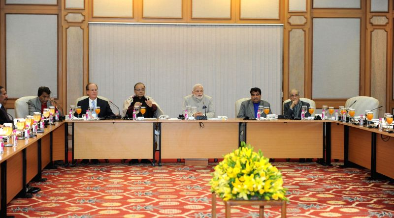 Prime Minister Narendra Modi host the dinner for participants of the Black Rock India Investor Summit, in New Delhi, on Feb 3, 2015. - Narendra Modi